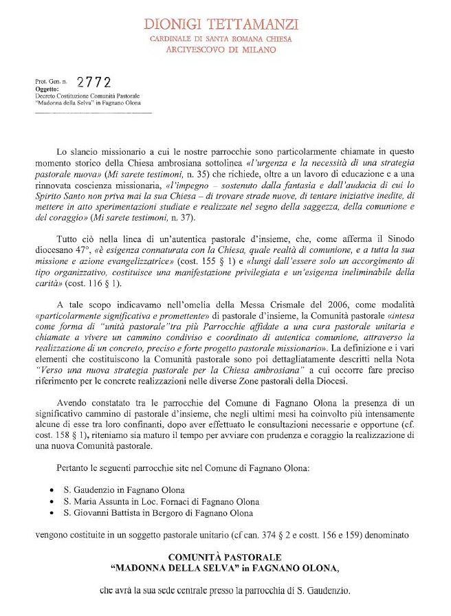 """Atto Costitutivo della Comunità Pastorale """"MADONNA della SELVA"""""""