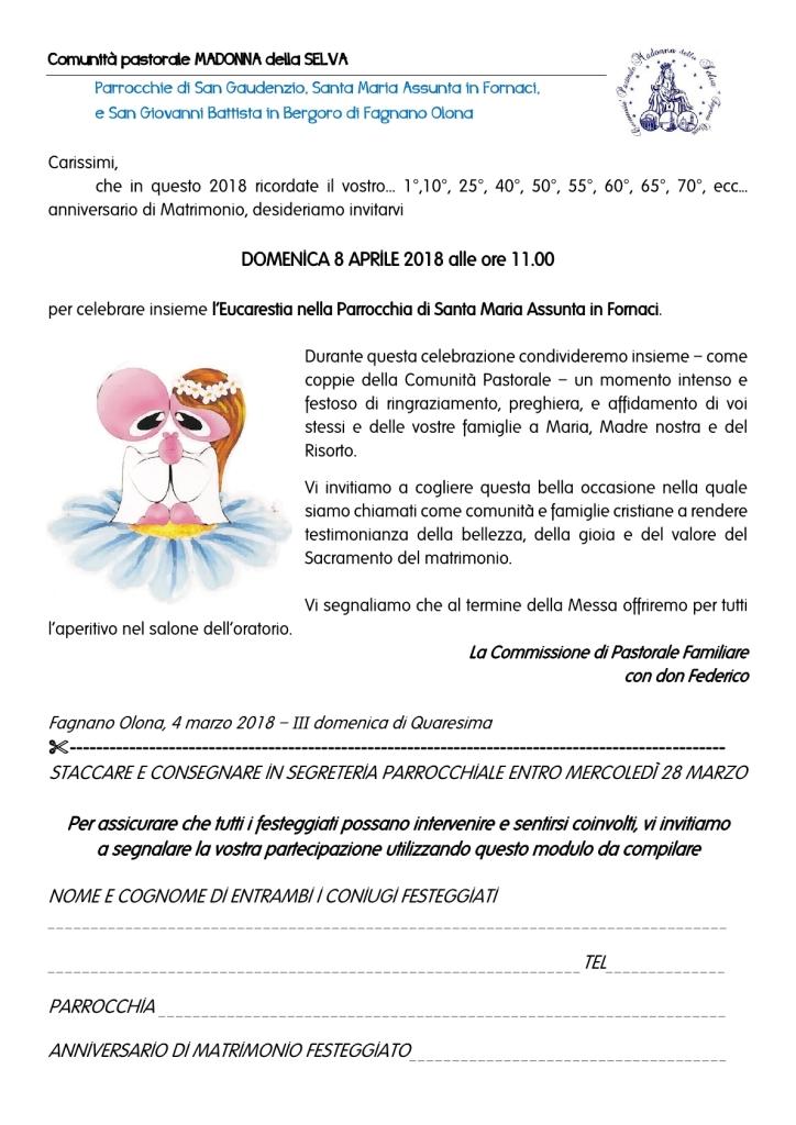 Anniversario Di Matrimonio Preghiera.Invito Anniversari Matr 181 Madonna Della Selva