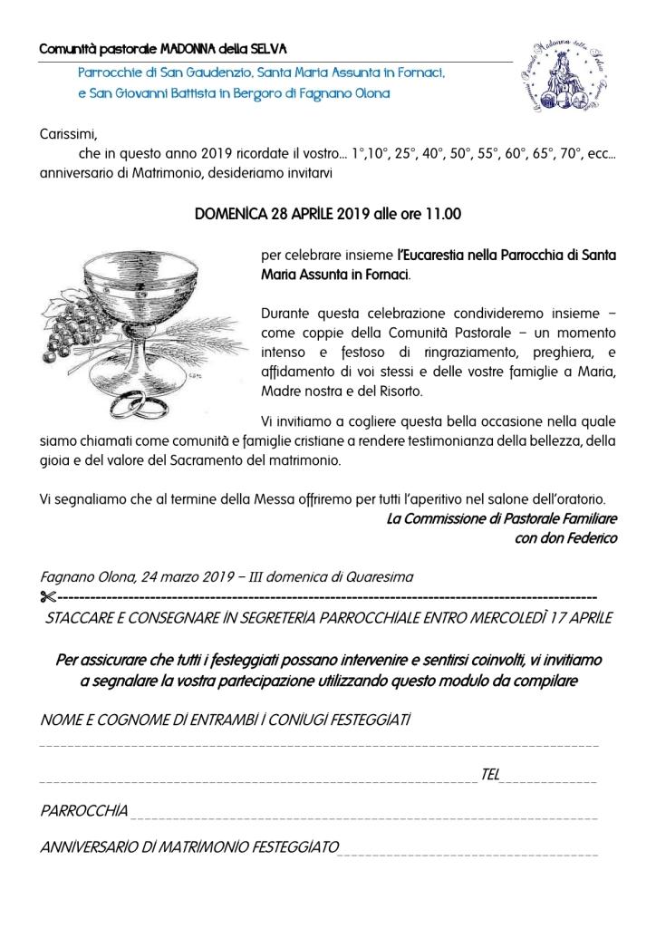 Anniversario Di Matrimonio Lettera.Lettera Invito 191 Madonna Della Selva
