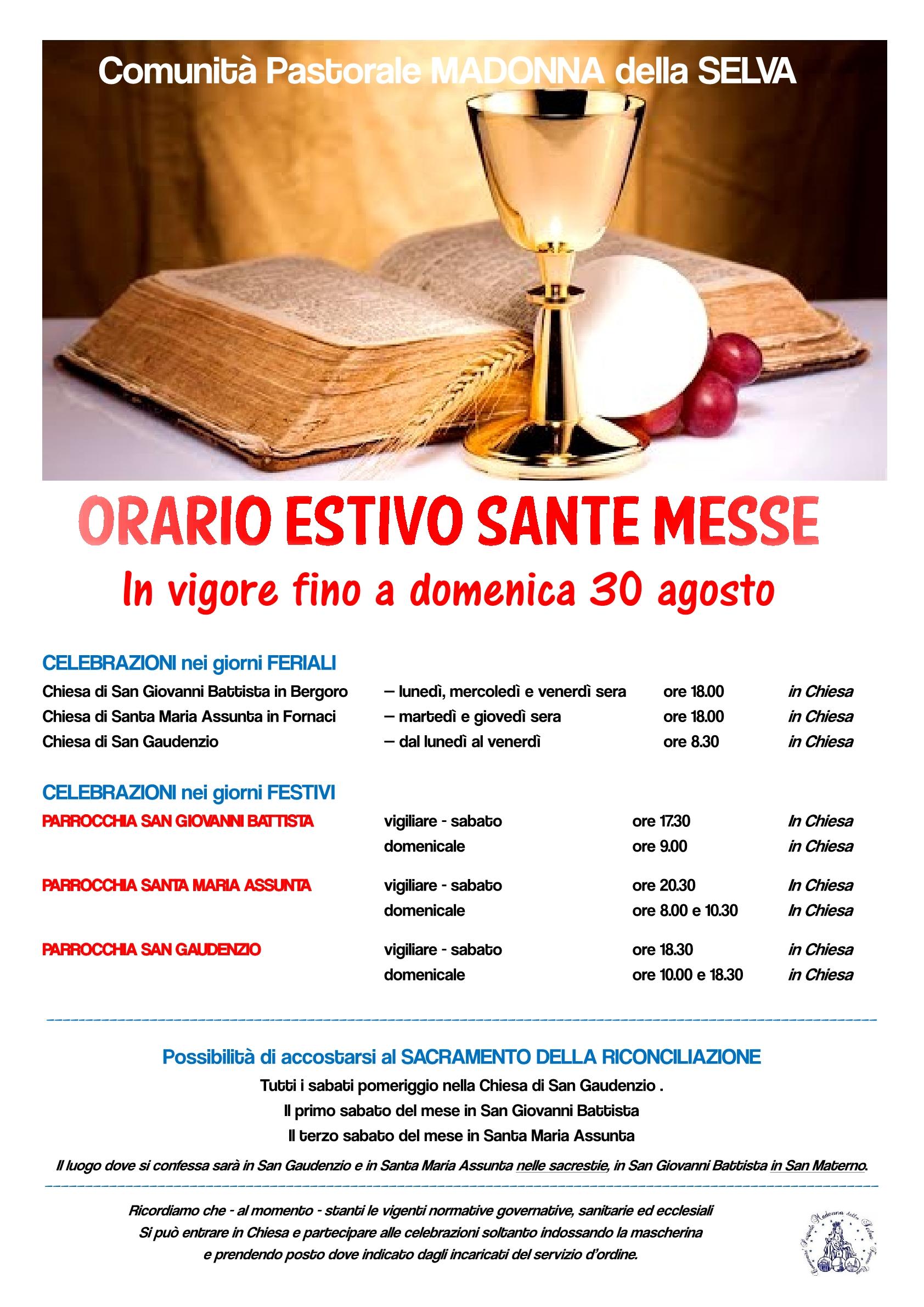 Volantino Messe orario estivo 20201