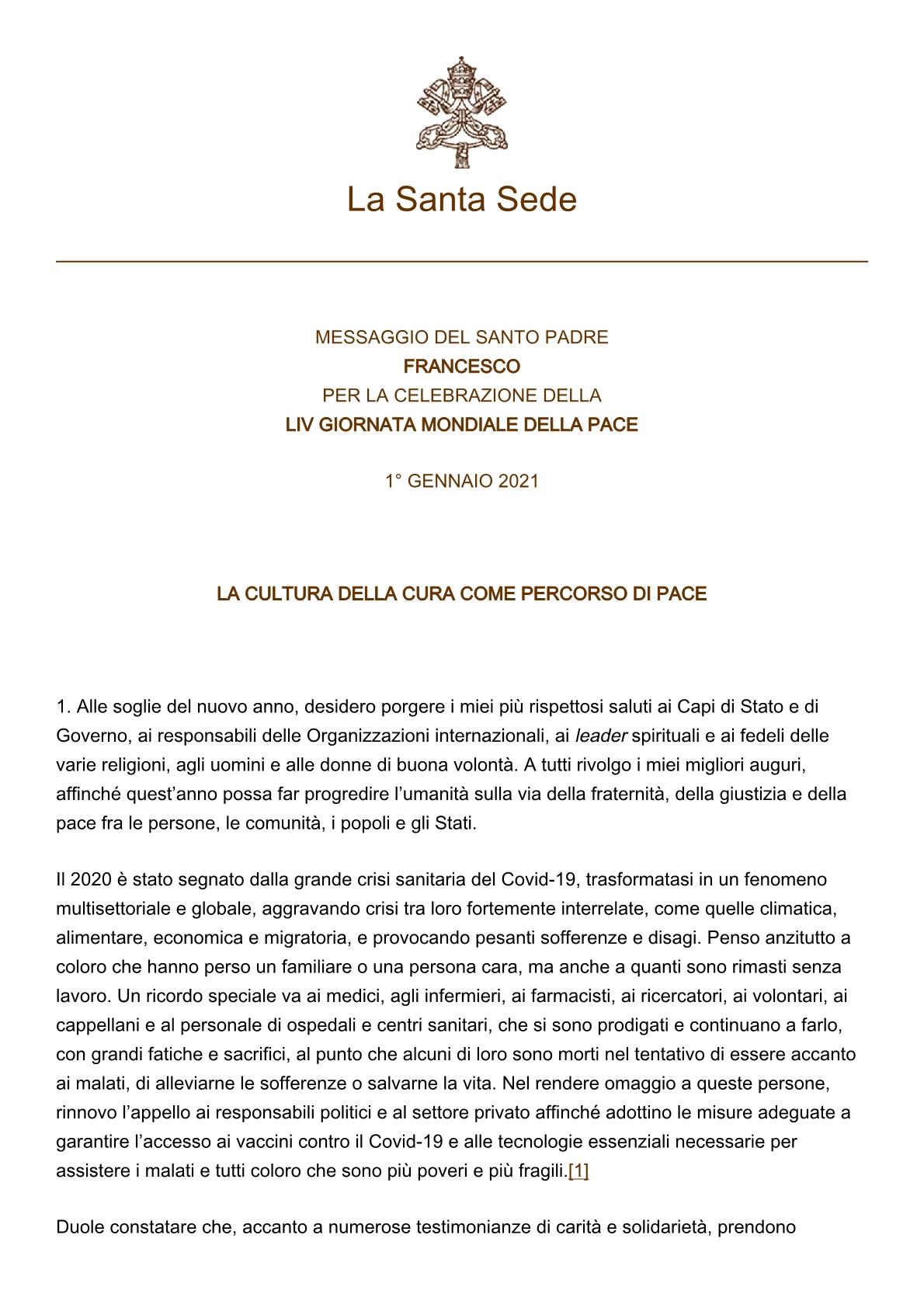 papa-francesco_20201208_messaggio-54giornatamondiale-pace20211